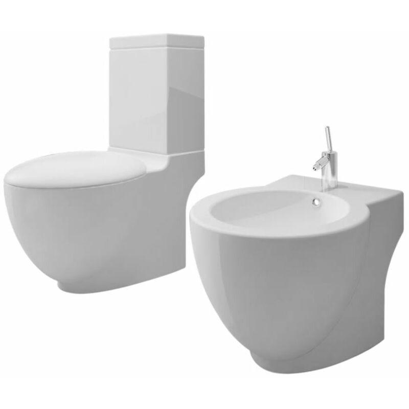 vidaxl set de cuvette et bidet c ramique blanc comparer les prix de vidaxl set de cuvette et. Black Bedroom Furniture Sets. Home Design Ideas