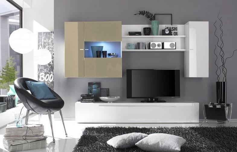 composition murale tv design primera blanc et sable. Black Bedroom Furniture Sets. Home Design Ideas