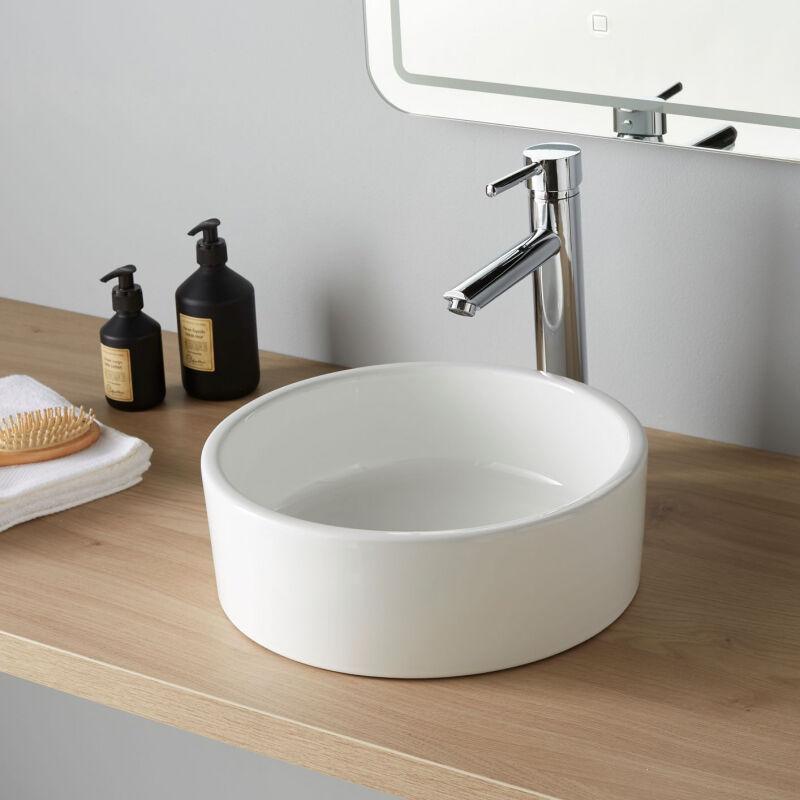vasque poser ronde en c ramique 35 cm planetebain comparer les prix de vasque poser. Black Bedroom Furniture Sets. Home Design Ideas