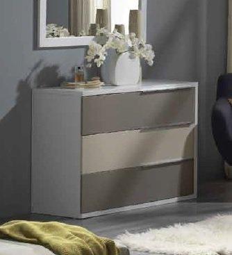 commode vigo blanche 3 tiroirs gris et taupe. Black Bedroom Furniture Sets. Home Design Ideas