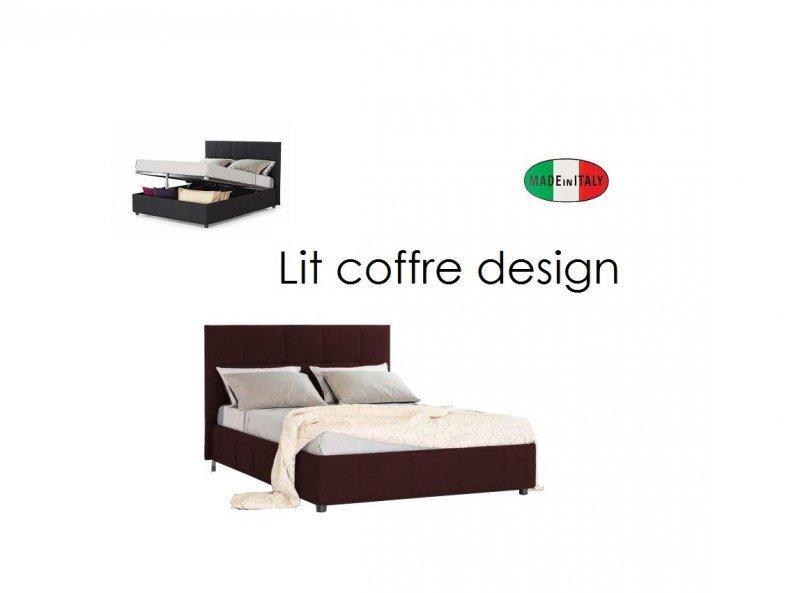 lit coffre design romeo marron couchage 140 190cm. Black Bedroom Furniture Sets. Home Design Ideas