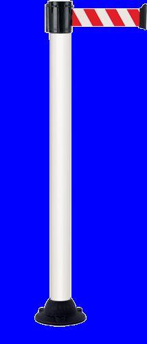 Poteau Alu Blanc laqué à sangle Rouge/Blanc 3m x 50mm sur socle fixe - 2011006