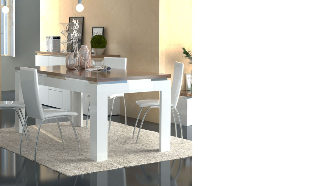 table a manger blanc laque et couleur bois moderne botino 2. Black Bedroom Furniture Sets. Home Design Ideas