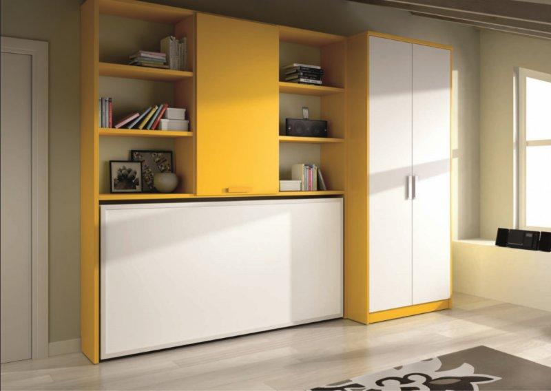Armoire lit transversale murano avec etageres et armoire couchage 90 190cm - Armoire lit transversale ...