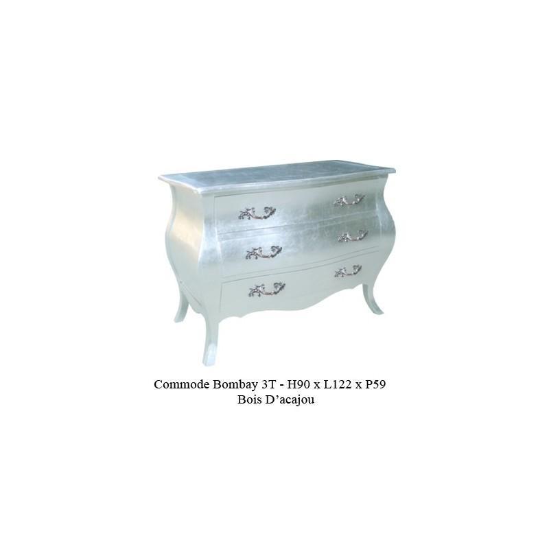 commode baroque argentee en bois modele bombay 3 tiroirs. Black Bedroom Furniture Sets. Home Design Ideas