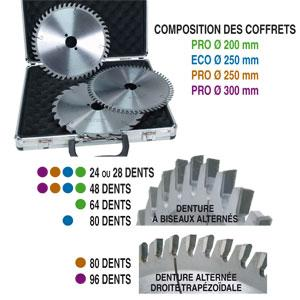 COFFRET DE 3 LAMES CIRCULAIRE PRO D 200 MM AL 30 24 - 48 &AMP 64 DENTS