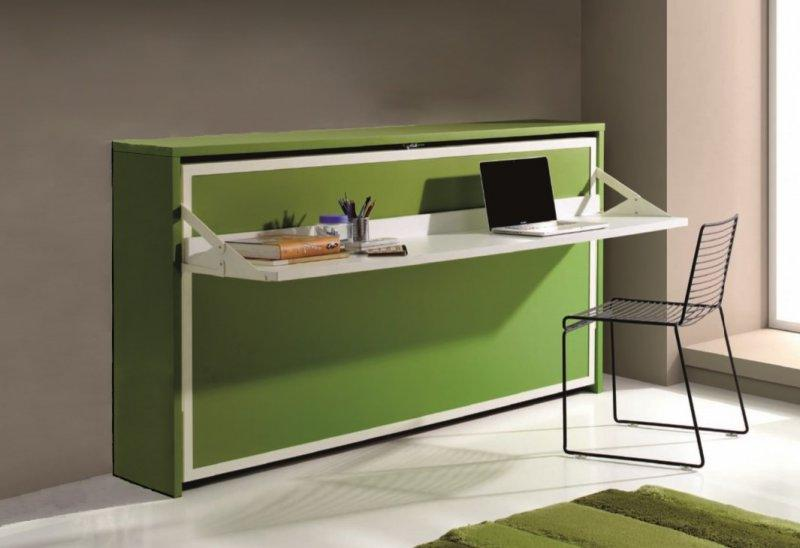 armoire lit transversale city avec bureau integre vert et blanc mat couchage 90 190cm. Black Bedroom Furniture Sets. Home Design Ideas