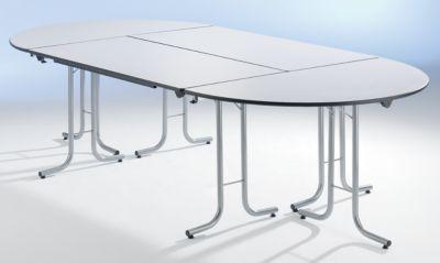 RETOUR POUR TABLE PLIANTE - PLATEAU EN FORME DE QUART DE CERCLE - 700 X 700 MM, PIÉTEMENT NOIR, PLATEAU FAÇON ÉRABLE