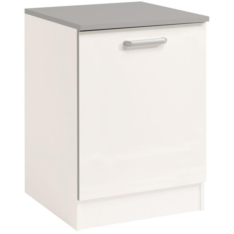 El ment bas de cuisine 60 cm blanc brillant dim h 86 x for Element bas de cuisine 60 cm