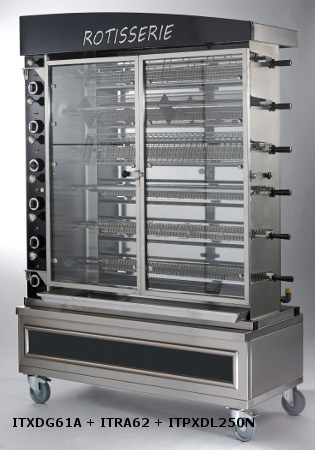 ROTISSOIRE VERTICALE CONFORT / FINITION TOUT INOX ITXDG61A + ITRA62 + ITPXDL250N