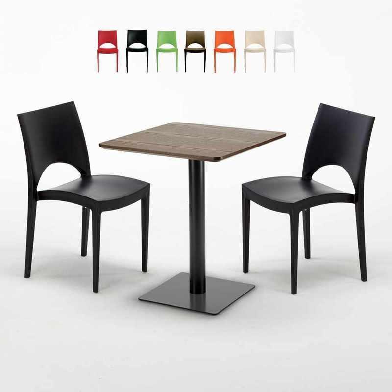 TABLE CARRÉE 60X60 PIED NOIR ET PLATEAU BOIS AVEC 2 CHAISES COLORÉES PARIS KISS   NOIR