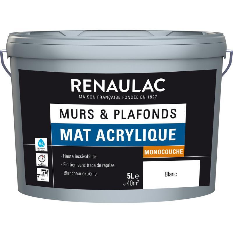 PEINTURE MURS ET PLAFONDS RENAULAC MAT ACRYLIQUE BLANC 5L