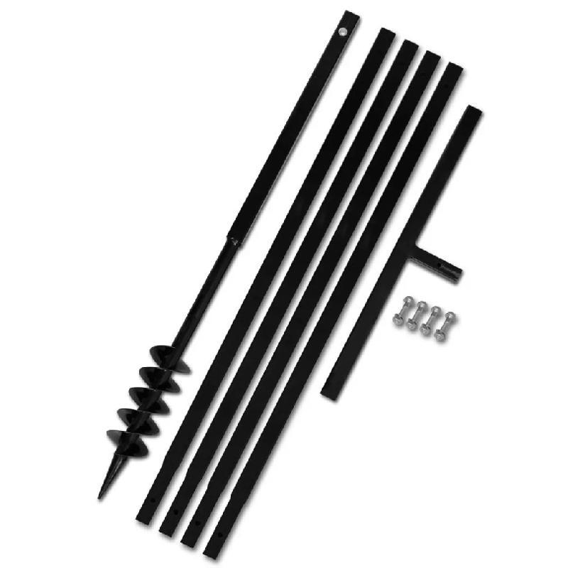 Vidaxl tarière de sol avec manche 80 mm et tube d\'extension 5 m acier