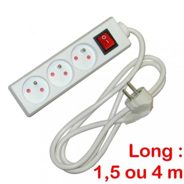 cable de rallonge electrique tous les fournisseurs bloc 3 prises avec interrupteur. Black Bedroom Furniture Sets. Home Design Ideas