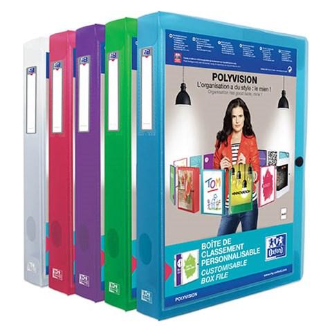 CHEMISE BOX PLASTIQUE PERSONNALISABLE ELBA 24 X 32 CM DOS 4 CM COULEUR - ELBA