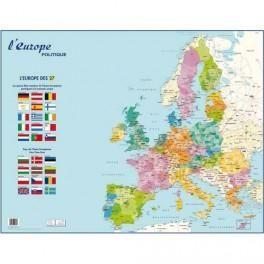 CARTE EUROPE POLITIQUE MURALE - PELLICULÉE FORMAT 66 X 84,5 CM- 4 OEILLETS POUR SUSPENSION
