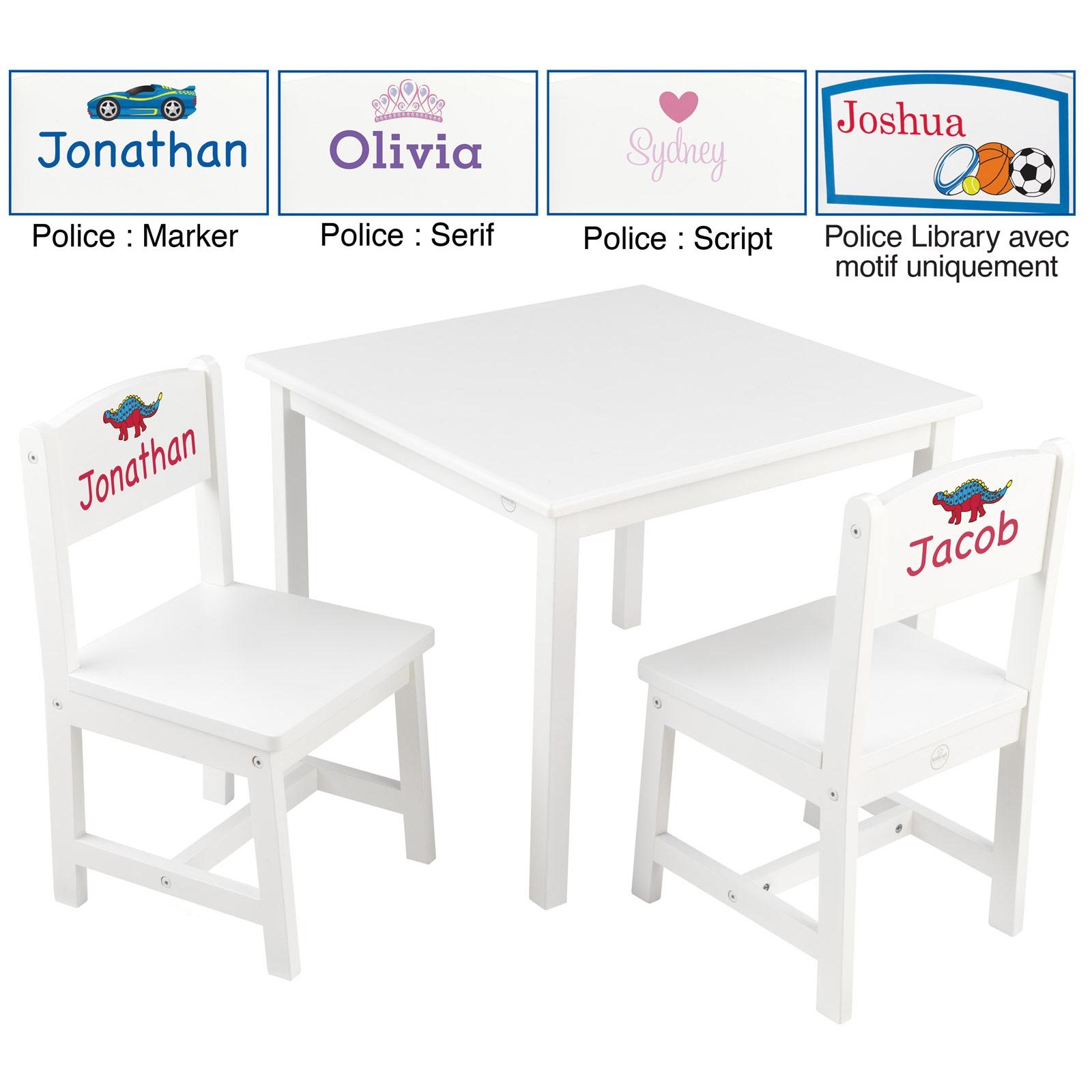ensemble table et 2 chaises enfant aspen en bois blanc personnalisable
