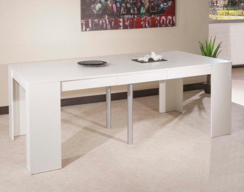 console elasto blanc mat extensible en table repas 10. Black Bedroom Furniture Sets. Home Design Ideas