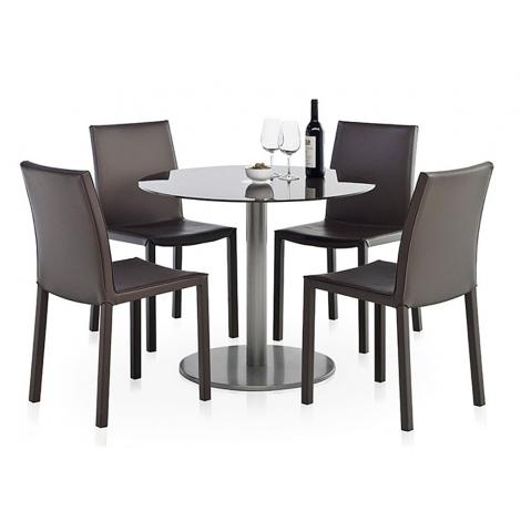 table ronde en verre rondo ht 75 ou 90 cm. Black Bedroom Furniture Sets. Home Design Ideas