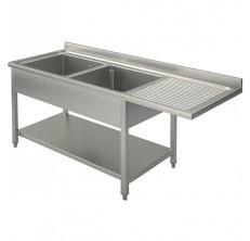 Plonge 2 bacs 1 gouttoir droite 1600 x 700 emplacement for Fournisseur vaisselle professionnelle