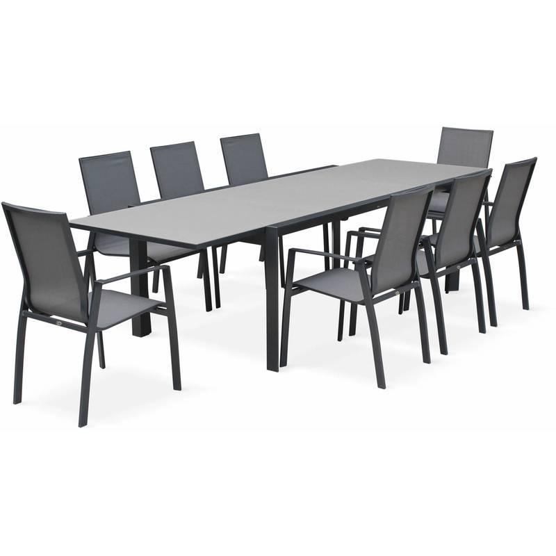 salon de jardin table extensible washington gris fonc. Black Bedroom Furniture Sets. Home Design Ideas