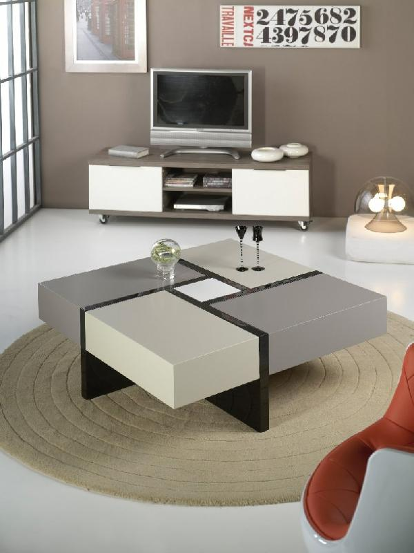 Table basse design molly grise et taupe avec 4 tiroirs coulissants - Table basse luxe design ...