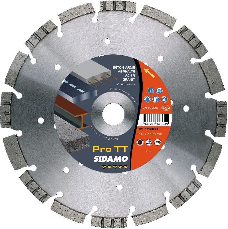 disque diamant 230 mm segment pro tt tron onnage b ton acier granit asphalte fonte sidamo. Black Bedroom Furniture Sets. Home Design Ideas