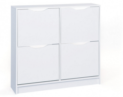 armoire pour chaussures 100 cm a 4 compartiments a bascules coloris blanc. Black Bedroom Furniture Sets. Home Design Ideas