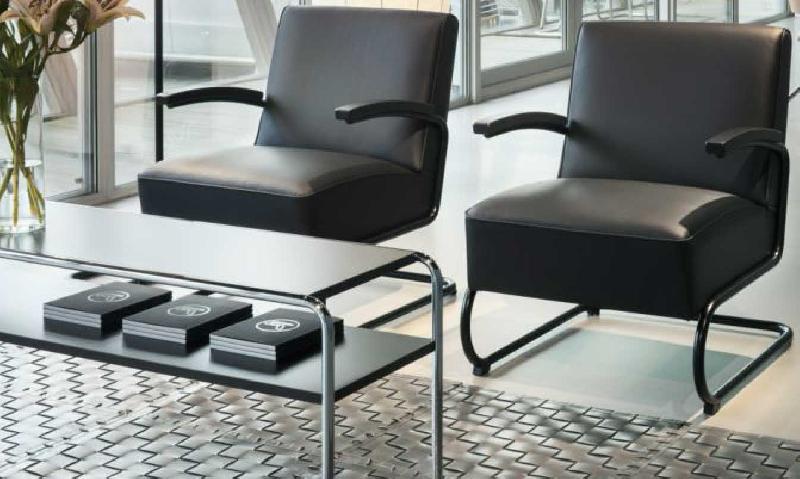 B 10 1 table basse avec tablette l130 cm marcel breuer noir - Table basse avec tablette ...