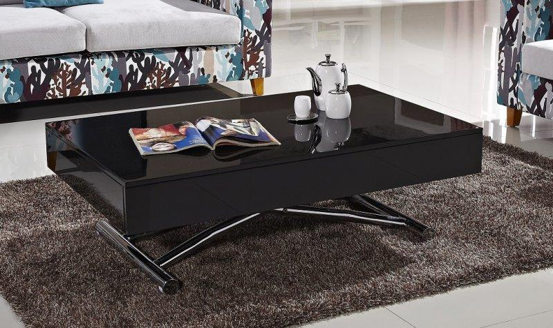 Table basse relevable cube noire mate carbone extensible for Table extensible 18 couverts