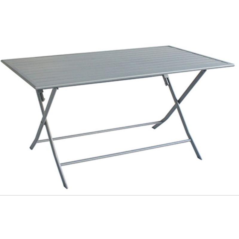TABLE JARDIN EN ALUMINIUM AVEC PLATEAU EN ACIER COLORIS ALU - DIM ...