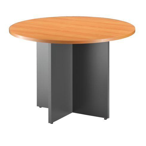 table ronde 100 cm excellens plateau merisier pied croix. Black Bedroom Furniture Sets. Home Design Ideas