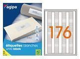 AGIPA 101183 ÉTIQUETTES MULTIUSAGES BLANCHES 35X6 MM COINS ARRONDIS - POCH 25 PL. A4