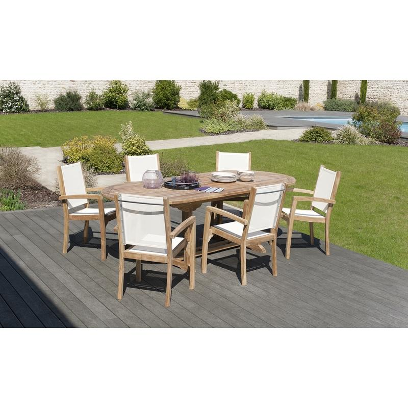 SALON DE JARDIN EN TECK GRADE A, COMPRENANT 1 TABLE OVALE 180*240 ...
