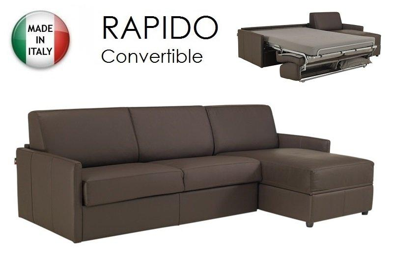 Canape d 39 angle sun convertible ouverture rapido 140cm cuir vachette taupe - Canape cuir taupe angle ...