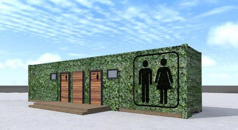 Container amenage en toilettes publiques vertes - Container amenage ...