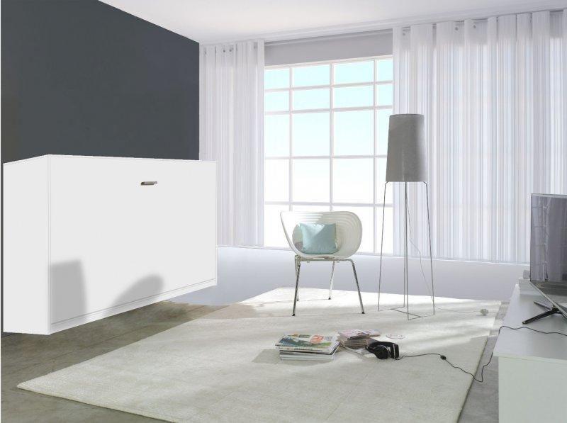 armoire lit transversale linea blanc mat couchage 90 18 190cm. Black Bedroom Furniture Sets. Home Design Ideas