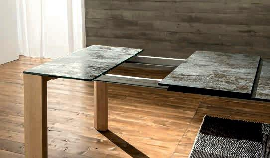 equinox table repas extensible en verre ceramique anthracite pietement bois. Black Bedroom Furniture Sets. Home Design Ideas