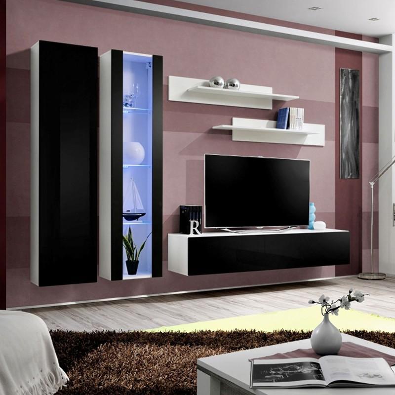 Meuble tv mural design fly iv 260cm noir & blanc - paris prix