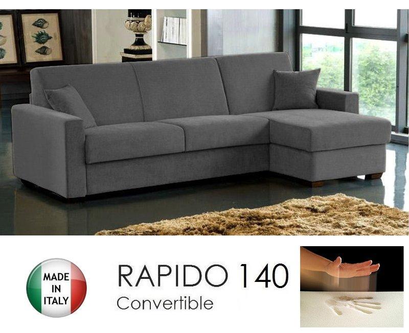 canape d 39 angle convertible rapido 140cm dreamer tissu microfibre gris graphite matelas 140 14. Black Bedroom Furniture Sets. Home Design Ideas