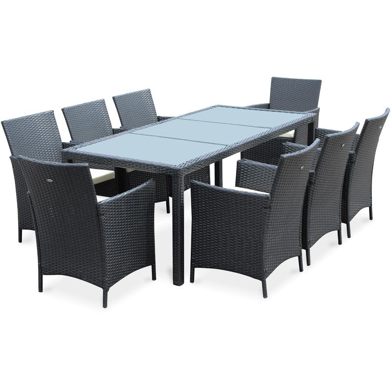 salon de jardin tavola 8 noir en r sine tress e table d 39 ext rieur 195cm avec 8 fauteuils. Black Bedroom Furniture Sets. Home Design Ideas
