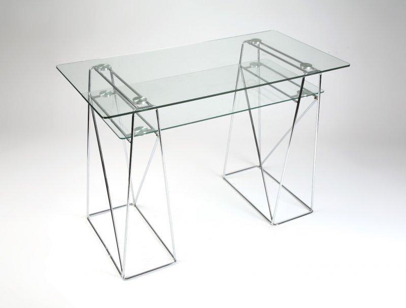 Light bureau en verre et metal chrome pour ordinateur