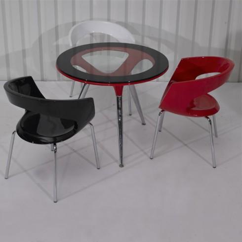Ensemble de 3 fauteuils de salle manger coloris noir for Salle a manger noir blanc rouge