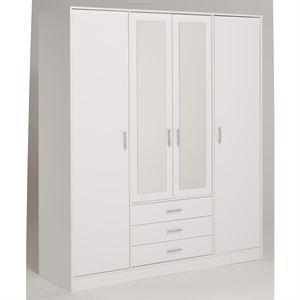 essentielle armoire blanche 4 portes 4 tag res. Black Bedroom Furniture Sets. Home Design Ideas