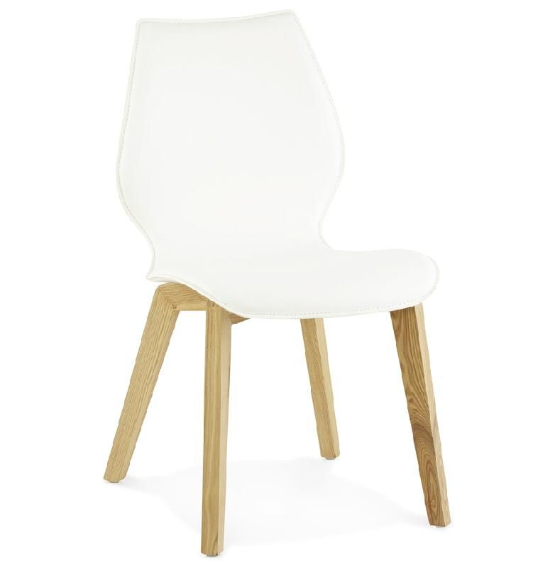 Chaise scandinave 39 viking 39 en mati re synth tique blanche for Chaise scandinave blanche