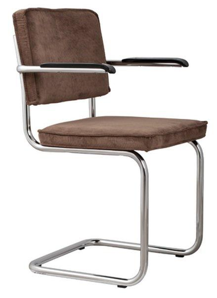 Chaise zuiver ridge rib velours cafe cadre chrome for Chaise zuiver