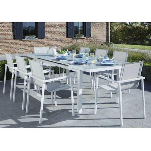 Ensemble table et chaises de jardin extensibles en verre rainur es whitestar 8 places blanc - Ensemble table extensible et chaise ...