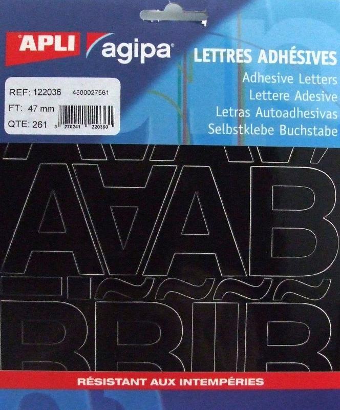 POCHETTE DE 261 LETTRES ADHÉSIVES NOIRES - APLI AGIPA - 47 MM