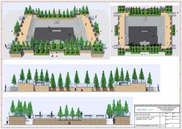 conception skatepark 450m2 babylone hors sol. Black Bedroom Furniture Sets. Home Design Ideas