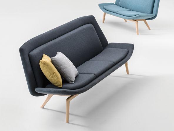 canap design norway 2 ou 3 places pied bois massif naturel et revtement tissu remix - Pied De Canape Design